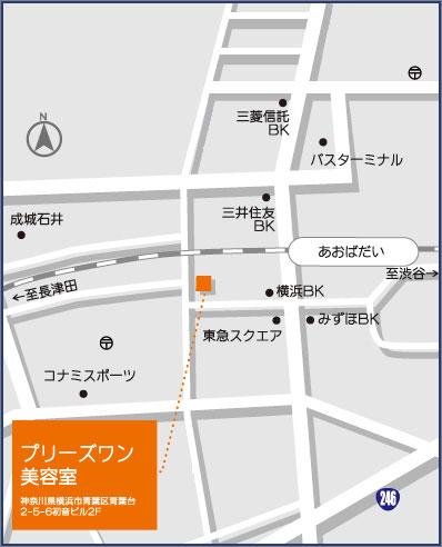 美容室プリーズワンの地図
